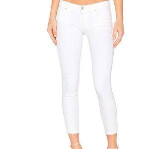 Hudson Crop White Skinny Jeans